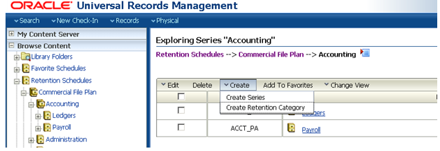 retention schedule template - oracle webcenter content records management